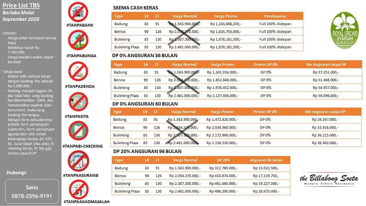 The Billabong Soeta - Perumahan Syariah Bandung Mewah - Pricelist Harga September 2020